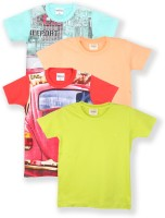 Tonyboy Boys Solid, Printed Cotton T Shirt(Multicolor, Pack of 4)