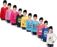 IndiWeaves Girls Printed Cotton T Shirt(Multicolor, Pack of 10)