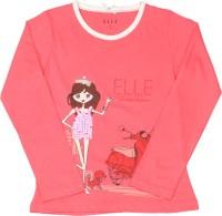 Elle Kids Girls Printed Cotton T Shirt(Pink)