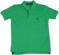 Izod Boys Solid Cotton T Shirt(Green, Pack of 1)