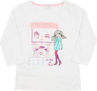 Elle Kids Girls Printed Cotton T Shirt(White)