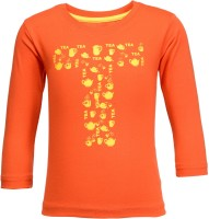 NO.99 Boys Printed Cotton T Shirt(Orange, Pack of 1)
