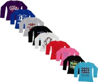 IndiWeaves Girls Printed Cotton T Shirt(Multicolor, Pack of 9)