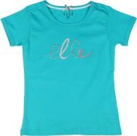 Elle Kids Girls Solid Cotton T Shirt(Green)