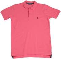 Izod Boys Solid Cotton T Shirt(Pink, Pack of 1)