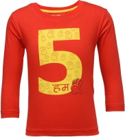 NO.99 Boys Printed Cotton T Shirt(Red, Pack of 1)