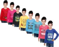 IndiWeaves Girls Printed Cotton T Shirt(Red, Pack of 8)