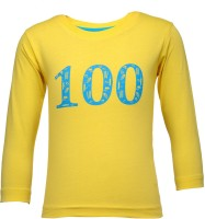 NO.99 Boys Printed Cotton T Shirt(Yellow, Pack of 1)