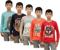 Kothari Boys Printed Cotton T Shirt(Multicolor, Pack of 5)