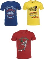 AJ Dezines Boys Graphic Print Cotton T Shirt(Multicolor, Pack of 3)