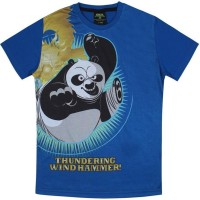 Kung Fu Panda Boys Printed Cotton T Shirt(Blue, Pack of 1)