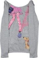 Elle Kids Girls Printed Cotton T Shirt(Grey)