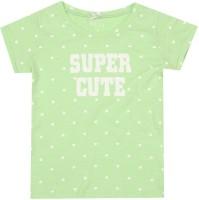 Elle Kids Girls Printed Cotton T Shirt(Green)
