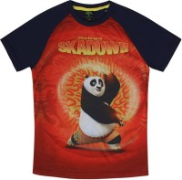 Kung Fu Panda Boys Printed Cotton T Shirt(Dark Blue, Pack of 1)