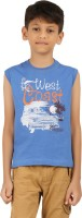 Frang Boys Solid Cotton T Shirt(Blue, Pack of 1)