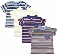 Luke and Lilly Boys Striped Cotton T Shirt(Multicolor, Pack of 4)