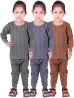 Red Fort Top - Pyjama Set For Girls(Grey, Pack of 6)