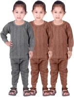 Red Fort Top - Pyjama Set For Girls(Grey, Pack of 6)