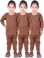 Red Fort Top - Pyjama Set For Girls(Brown, Pack of 6)