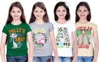 Sini Mini Girls Printed T Shirt(Multicolor)