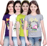 Sini Mini Girls Casual Cotton Top(Multicolor, Pack of 4)