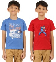 Frang Boys Solid Cotton T Shirt(Red, Pack of 2)
