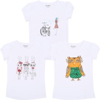 Minnow Girls Casual Cotton Top(White, Pack of 3)