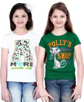 Sini Mini Girls Printed T Shirt(White)