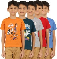 Frang Boys Solid Cotton T Shirt(Grey, Pack of 5)