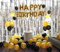 Packkart Birthday Decoration Combo Kit 75 Pcs Set of 1 Golden 13 Pcs
