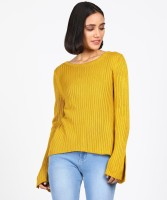 Ms.Taken Striped Boat Neck Casual Women Yellow Sweater