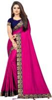 THAETA Solid Fashion Pure Silk, Art Silk Saree(Pink)