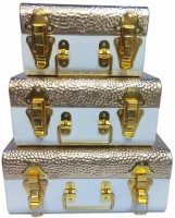 DecorOne Multipurpose Cartoon Printed Metal Trunk Decorative Gift Box Jewellery Storage Metal Buxa Gift Organizer Box with Double Lock pack of 3 Metal Trunk(Finish and Fabric Color - gold, Pre-assembled)