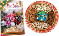 festivalsbazar Special Gift For New Year | Good Looking Dry Fruits Gift Hamper With Greeting Card Wooden Gift Box(Multicolor)