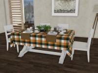 Lushomes Checkered 6 Seater Table Cover(Pasture Checks, Cotton)