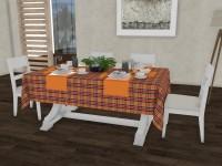 Lushomes Checkered 6 Seater Table Cover(Pristine Checks, Cotton)