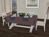 Lushomes Checkered 6 Seater Table Cover(Schook Checks, Cotton)