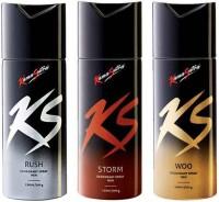 Kamasutra KS COMBO DEODORANT SPRAY WOO+RUSH+STORM,150ML EACH Deodorant Spray  -  For Men(450 ml, Pack of 3)