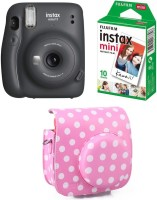 FUJIFILM Instax Mini 11 Charcoal Gray with Pouch and 10 Shot film Instant Camera(Grey)