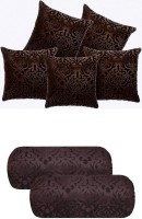 igi Damask Cushions & Bolsters Cover(Pack of 7, 40 cm*40 cm, Brown)