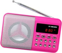 CRETO B T-SM246 Multi-feature Fm radio with digital display support usb , memory card, aux in , recording FM Radio(Pink)