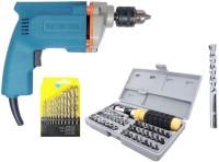 Inditools Latest 10mm Electric drill machine 350 W with 1masonry bit 41pc Socket set and 13pc HSS set Pistol Grip Drill(10 mm Chuck Size)