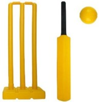 Fitness Solutions PlastiC Set of 3 Stumps 2 Bails 1 Base & 1 Bat for adults size 6 for cricket lovers (plastic cricket set for kids and adults ) Cricket Kit(Bat Size: 6 (Age Group 11 - 13 Years))