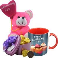 Midiron Birthday Gift For Your Love One's That Comes With 15 Pieces Luxury Dark Chocolate in Tin Box, Printed Ceramic Mug and Happy Birthday Quoted Teddy IZ19Choco15Tinbox4PurMUrTHB-DTBirthday-87 Ceramic, Silk Gift Box(Multicolor)