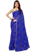 Ratnavati Woven, Embellished Daily Wear Chiffon Saree(Blue)