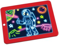 Bluwings Kids LED Light up Glow Drawing Board for Art Learning with 3 Dual side marker and 30 Stencils(Red)