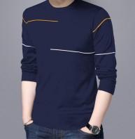 Reya Striped Men Round Neck Blue T-Shirt