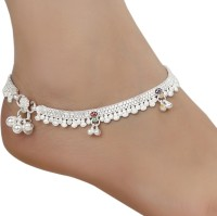 AanyaCentric Indian Traditional Ethnic Fancy Fashion Foot Jewellery Silver Plated White Metal Ghungroo Painjan Payal Leg Chain Stylish Imitation Pair Of Alloy Anklet(Pack of 2)
