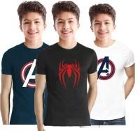 Gkidz Boys Printed Cotton Blend T Shirt(Multicolor, Pack of 3)