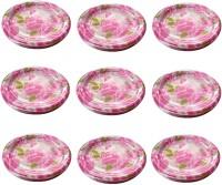 RELIUSMART SHINING PINK ROSE PRINTED PLATES FOR BIRTHDAY Quarter Plate(90 Quarter Plate)